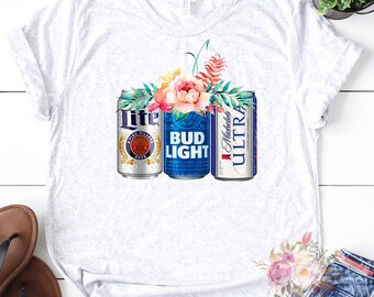 25a02e50df2dc6 Beer Can Floral printed graphic t Bella Canvas. PersonalSpaceStore. 5 out of  ...