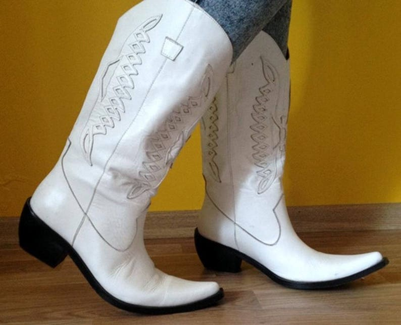 8dc01cd6b00 Cowboy Boots Genuine Leather Cowgirl Boots Womens Western Boots cowboy  vintage boots 1990s boots urban rare western White Country Cowgirl