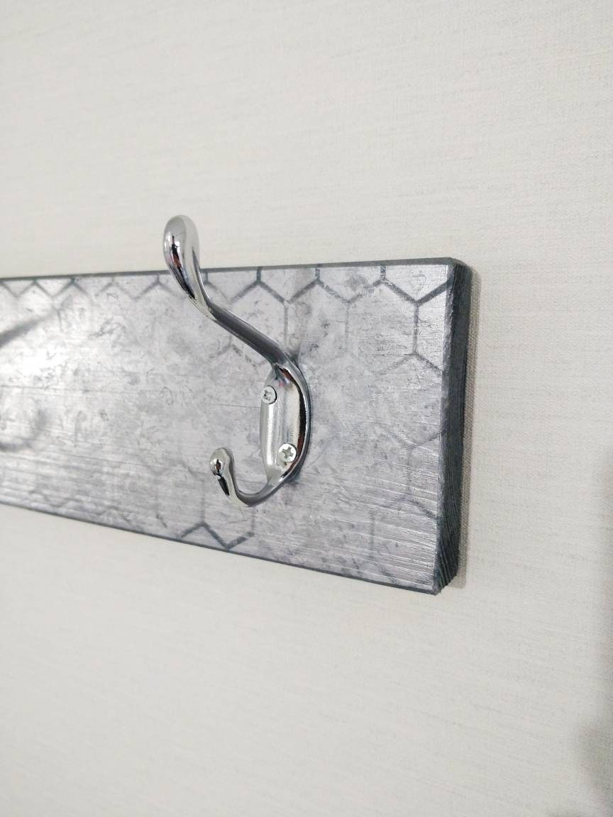 Honeycomb  Coat rack in Silver Color with 10 Chrome Hooks