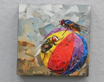 "Torn paper collage   ""FLY BALL"" 12"" x 12"""