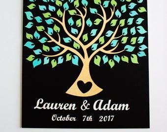 Wedding guest book alternative Wedding guest book 3d Tree of live Green Mint