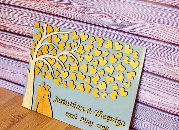 Goldene Hochzeit Gästebuch Alternative 3d Gast Buch Hochzeit Baum Zeichen Gast Buch Paar Kontur Hochzeitsgästebuch Personalisiert