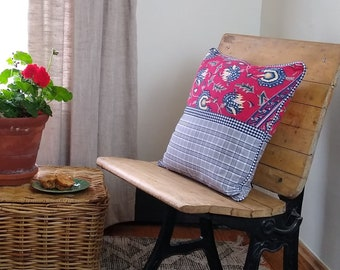 Upcycled modern patchwork pillow, 100% cotton fabric throw pillow, eco-friendly / zero waste, made from vintage clothing - red / navy