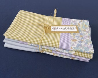 Upcycled modern patchwork napkins, set of 4, 100% cotton, eco-friendly / zero waste, made from vintage clothing - sky / lavender