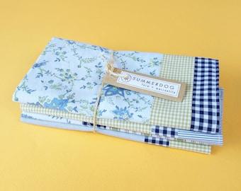 Upcycled modern patchwork napkins, set of 4, 100% cotton, eco-friendly / zero waste, made from vintage clothing - aqua / olive