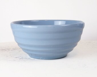 Vintage ring ware bowl, delph blue pottery mixing bowl