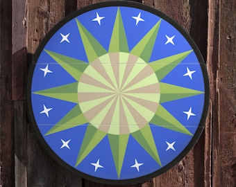 """33"""" large solid wood hex sign or barn star, field star in blue and green, outdoor or indoor"""