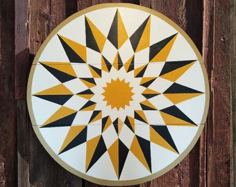 """33"""" large solid wood hex sign or barn star, golden yellow sunburst, outdoor or indoor"""