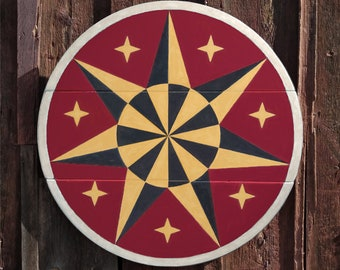"""33"""" large solid wood hex sign or barn star, star wheel in classic red and yellow, outdoor or indoor"""