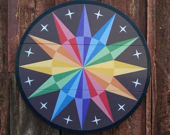 """33"""" large solid wood hex sign or barn star, pride rainbow star, outdoor or indoor"""