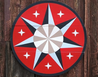 """33"""" large solid wood hex sign or barn star, star wheel in red and white, outdoor or indoor"""