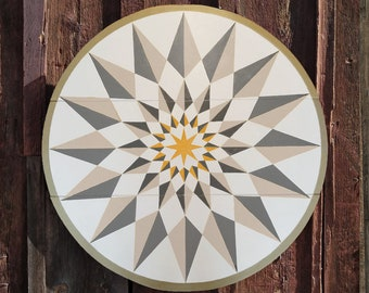 """33"""" large solid wood hex sign or barn star, sun through clouds in soft white, outdoor or indoor"""