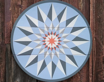 """33"""" large solid wood hex sign or barn star, nordic sky, outdoor or indoor"""