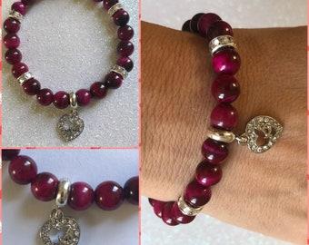 Mom heart charm bracelet