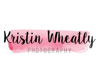 Premade Logo Design, Pre-made Business Branding - Watercolor, Brushstroke, Stroke, Swoosh, Texture, Blush, Light Pink, Photographer - #1017
