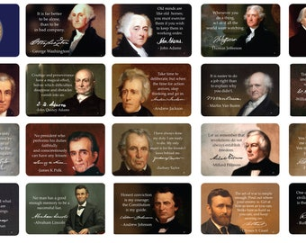 45 US Presidents Motivational Quote Cards, Beautiful Designed Thick Stock Paper, With Signature of Each President