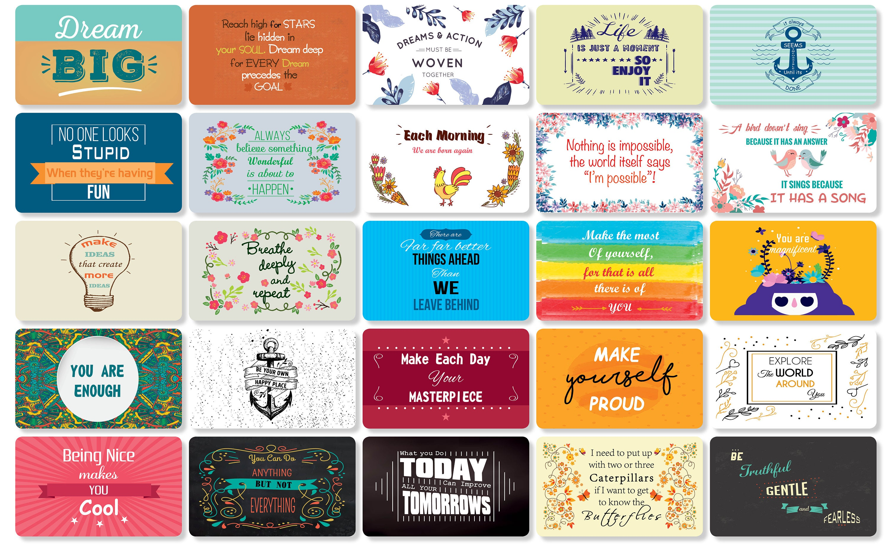 25 Beautiful Motivational Quote Cards Thick Stock Paper Back Of
