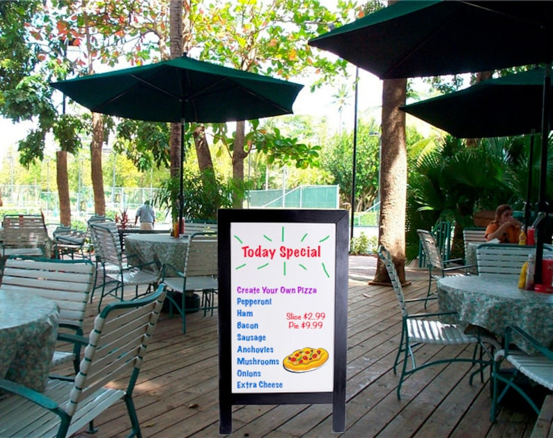 Strong Quality. Sandwich Sidewalk Write N/' Wipe Dry Erase Boards 24 x 42 with Black Painted wood frame Beautiful Design