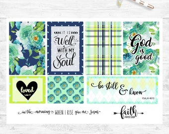 Planner Stickers, Bible Journaling, Scrapbook Stickers, Card Making, Happy Planner, Bible Verse, Scripture, Illustrated Faith. Aqua Blooms.