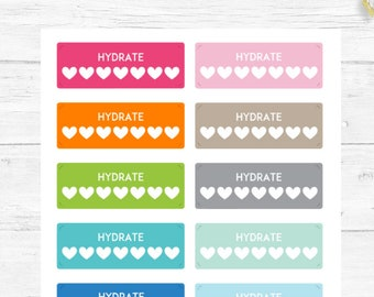 Water Tracker, Hydrate Stickers, Planner Stickers, Exercise Stickers, For any Planner, Chore Stickers, Reminder Stickers, Planner Basics #07