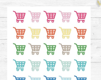 Shopping Cart, Grocery Stickers, Planner Stickers, Exercise Stickers, For any Planner, Chore Stickers, Reminder Stickers, Planner Basics #01