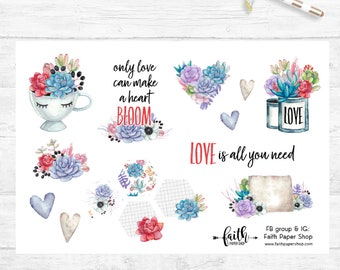 Planner Stickers, Scripture Stickers, Bible Journaling, Happy Planner, ECLP, MAMBI, Illustrated Faith, Christian Stickers, Cactus Succulent