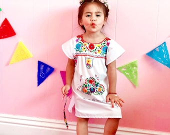f8bdc67781 Mexican Hand Embroidered Girl Dress White   Ivory-Colorful Flowers-Mexican  Fiesta Birthday Theme- Coco Themed Bithday Party-cinco de mayo-