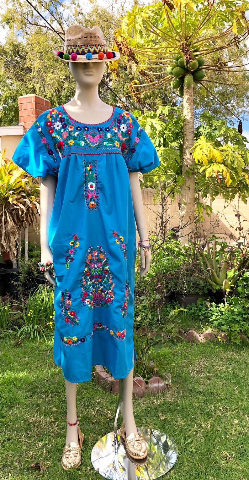 Plus Size Mexican Style Hand Embroidery Long Dress Light Blue   Etsy