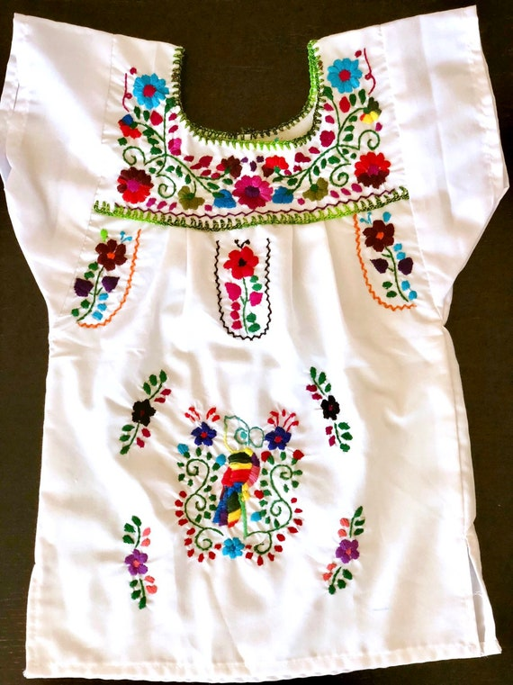 MEXICAN DRESS EMBROIDERED FIESTA,5 DE MAYO,WEDDING WHITE MULTI-COLOR
