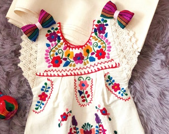 BABY-Toddler-kids 12-18-24 M 2-3-4-5-6-8 Mexican Style  Hand Embroidered Girl Dress Ivory-Colorful Flowers-Fiesta Birthday Themed taco party