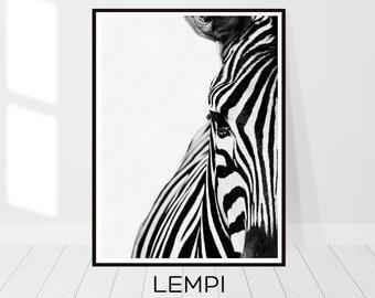 Zebra Print, Zebra Photo Art, Art Modern, Animal Print, Black and White, Animal Decor, Safari Animal, Wall Art, Instant Download