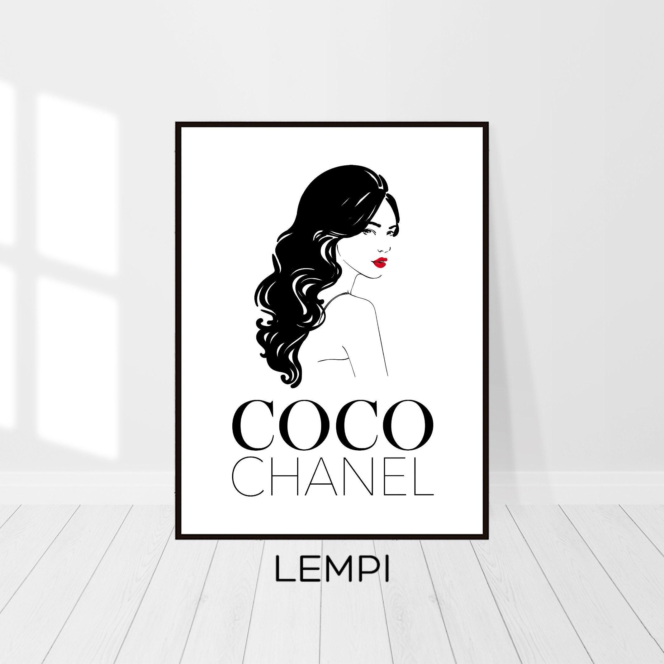 Coco Chanel Print Mode-Skizze Coco Chanel Dekor   Etsy