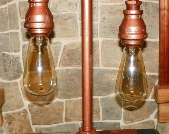 Handcrafted Industrial Pipe Lamp with edison bulbs in Bronze