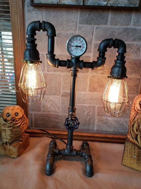 Handcrafted Vintage style Industrial Iron Pipe Table lamp