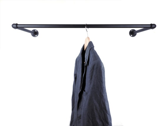 Wardrobe Black Metal for Hangers 50, 80 or 100 cm Industrial Stable and Durable Clothes Rail Wall Wardrobe Coat Rack