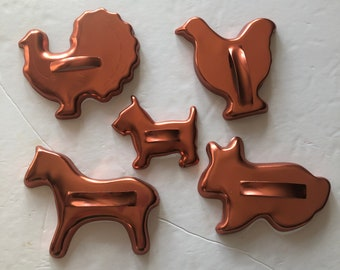 Vintage Aluminum Cookie Cutters Crescent Moon Circa 1950s Leaf Star Diamond Mixed Set of Five Round Excellent Condition