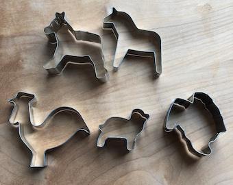 Antique Tin ANIMAL COOKIE Cutters Vintage Farmhouse Kitchen Baking Set of 4 Dog Bird Horse Lion