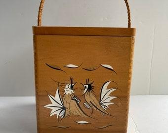 Large Rooster Wood Box with Handle - Chicken Box - Kitchen Storage - Vintage Storage Box - Kitchen Decor - Wood Kitchen - Made in Japan