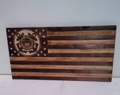 Coast Guard American wooden cedar flag, 19x35 inches, hand etched logo, ready to hang.
