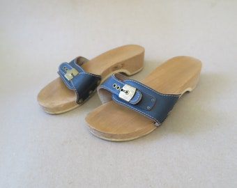 9a5b3ec6ee1a Vintage Dr. Scholl Exercise Sandals. Original Classic Blue Leather and Wood  Slides. Brass Hardware. Diamond Tread. Made in Austria. Size 6.