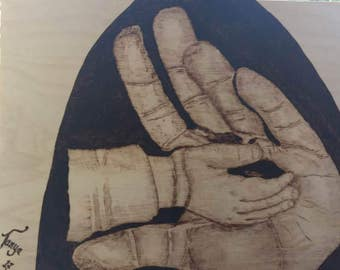 Take my hand by Tanya is A4 pyrography art wood burnt by hand on to birchwood ply