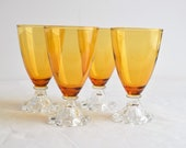 Set of 4 Amber Boopie Goblets Choose Your Size Amber Boopie Goblets Glassware by Anchor Hocking Set of Amber Boopie Collection