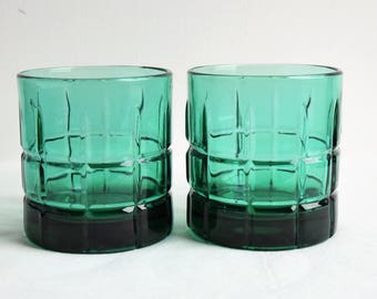 Set of 2 Green Anchor Hocking Tartan  Glasses/Water Glasses/Table Place Settings/Household Glassware/ Replacement