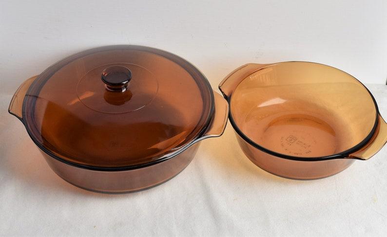 Set of 4 Piece Anchor Hocking Amber Glass Casseroles With LidsGlass Bakeware