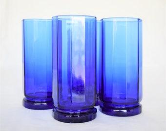 Set of 4 Cobalt Blue Anchor Hocking Dinner Glasses/Glassware