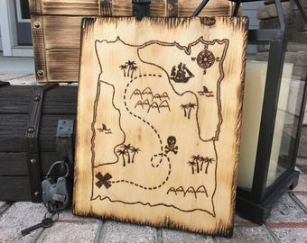 Treasure Chest Map - Pirate Decor, Pirate Map, Booty, Pirate Chest Map, Pirate Sign, Wooden Sign