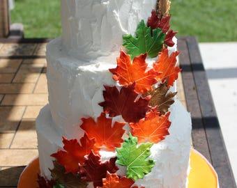 Edible Leaves, Fall Decorations, Edible Cake Decorations, Fall Wedding Cake Decor, Edible Toppers