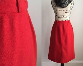 Vintage Midi Skirt, Midi Skirt, Red Midi Skirt, Fall Midi Skirt