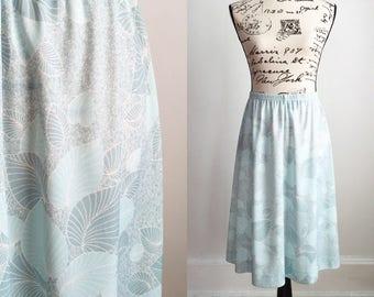 70s Polyester Skirt, Vintage Pale Seafoam Green Skirt, Vintage Midi Skirt // Size Medium