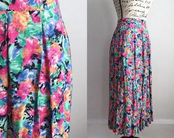 Vintage Floral Midi Skirt, Floral Midi Skirt with Pockets, Spring Midi Skirt, Summer Midi Skirt, Vintage Midi Skirt